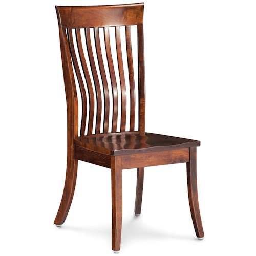 Simply Amish Loft Side Chair with Curved Slat Back