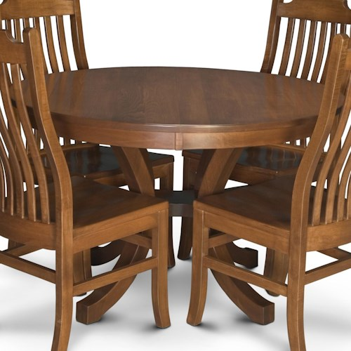 Simply Amish Loft Round Pedestal Table with 2 Leaves
