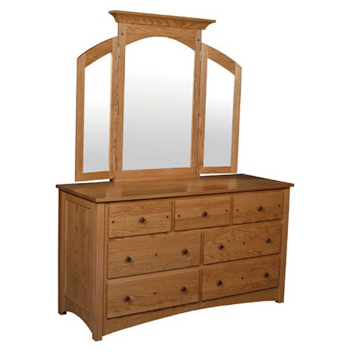 Simply Amish Royal Mission Royal Mission 7-Drawer Dresser and Mirror