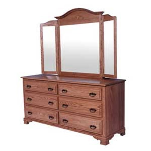 Simply Amish Classic Classic 6 Drawer Dresser and Arch Tri-View Mirror