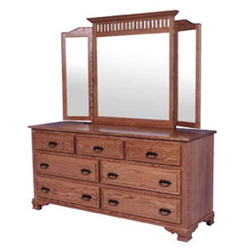 Simply Amish Classic Classic 7 Drawer Dresser and Mission Tri-View Mirror