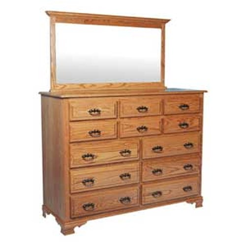 Simply Amish Classic Classic 12 Drawer Bureau and Crown Top Bureau Mirror