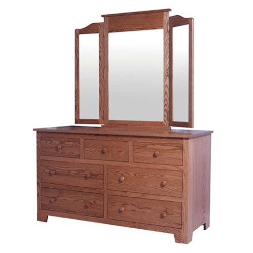 Simply Amish Shaker Amish Shaker 7-Drawer Dresser and Tri-View Mirror