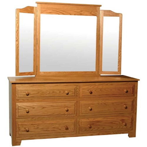 Simply Amish Homestead Amish Homestead 6-Drawer Dresser and Tri-View Mirror