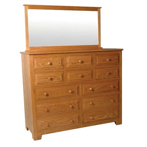 Simply Amish Shaker Amish Shaker 12-Drawer Bureau and Mirror