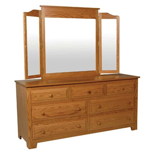 Simply Amish Homestead Amish Homestead 7-Drawer Dresser and Tri-View Mirror