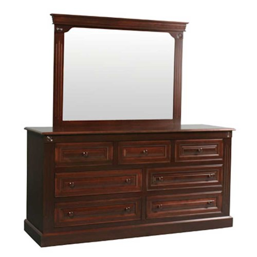 Simply Amish Imperial Amish Imperial 7-Drawer Dresser and Center Mirror