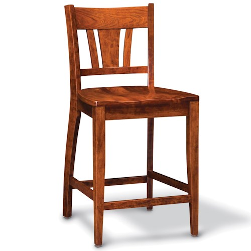 Simply Amish Shenandoah Stationary Barstool with Splat Back