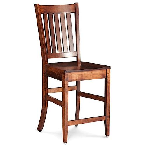 Simply Amish Shenandoah Wright Stationary Barstool with Slat Back