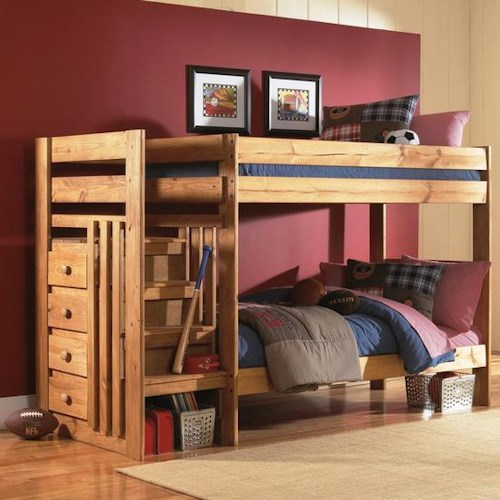 Simply Bunk Beds 7989 Twin over Twin Bunk Bed with Stairs and Drawers