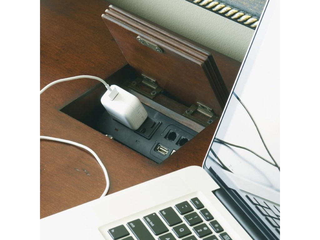 Touch Latch Laptop Docking Station with Built-In Power Outlets and USB and Phone Ports on Credenza
