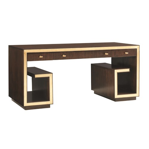 Sligh Bel Aire Brentwood Writing Desk with Wire Management and Gold Tipping