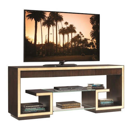 Sligh Bel Aire Rodeo Media Console with Floating Glass Shelves and Gold Tipping