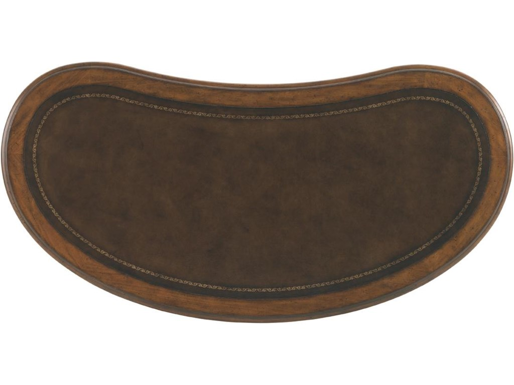 Kidney-Shaped Top with Tooled Dark Brown Leather
