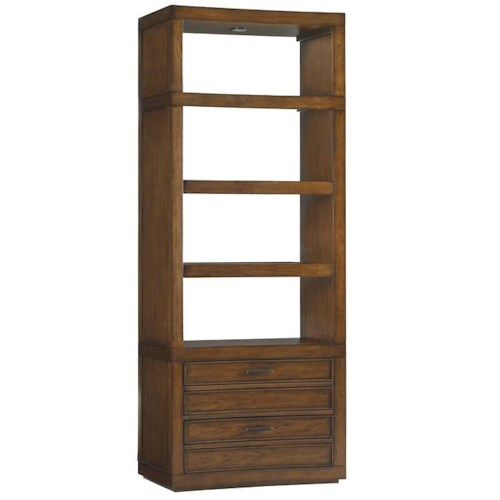 Sligh Longboat Key Crystal Sands Bookcase with Two Drawers