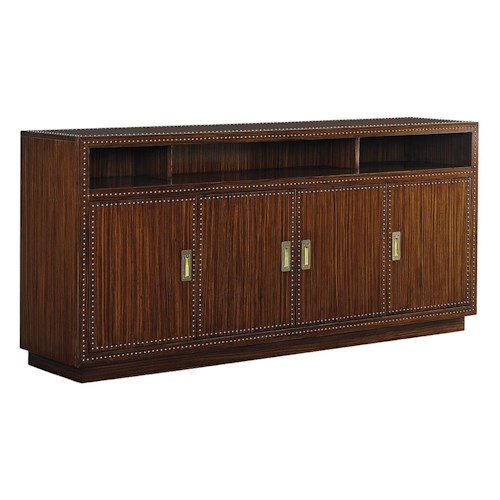 Sligh Studio Design Mystique Media Console with Adjustable Shelves and Nailhead Detail