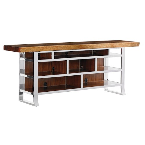 Sligh Studio Design Katara Media Console with Live Edge Wood Top and Wire Management