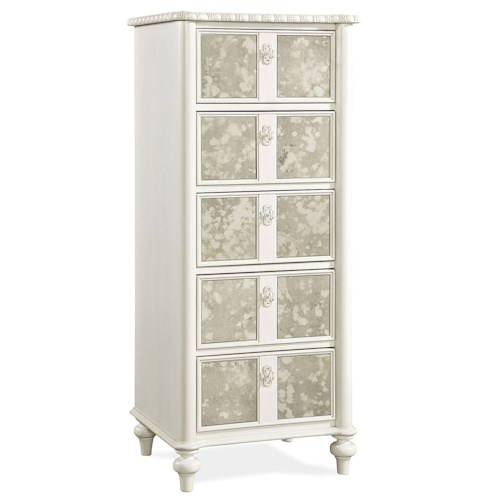 Smartstuff Bellamy Tall Chest with Antique Mirrored Fronts