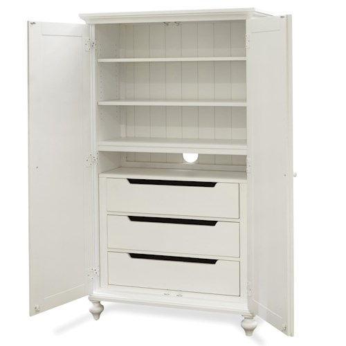 Smartstuff Black and White Classic Wardrobe with 3 Drawers and 3 Shelves Behind 2 Doors