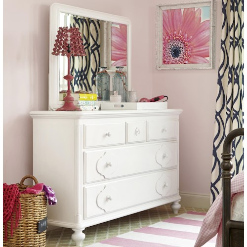 Smartstuff Black and White 5-Drawer Dresser and Landscape Mirror Combination