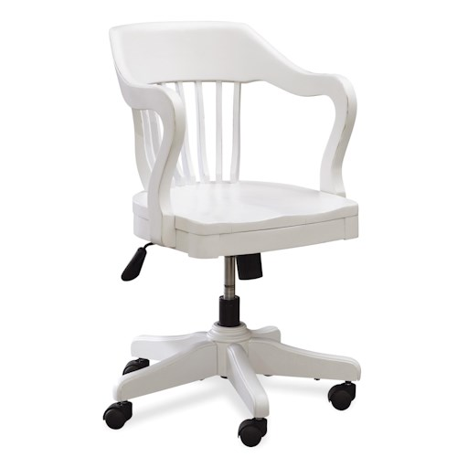 Smartstuff Black and White Young Banker's Chair with 5-Star Base with Wheels