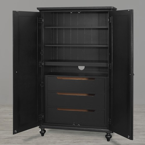 Universal Kids Smartstuff Black and White Classic Wardrobe with 3 Drawers and 3 Shelves Behind 2 Doors