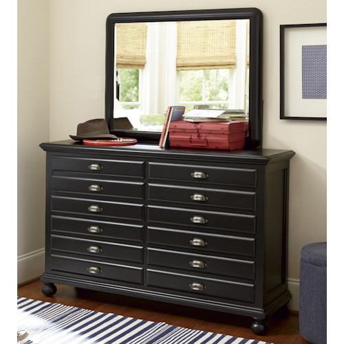 Smartstuff Black and White 7-Drawer Map Dresser and Landscape Mirror Combination