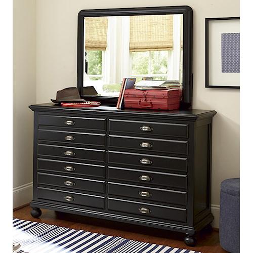 Universal Kids Smartstuff Black and White 7-Drawer Map Dresser and Landscape Mirror Combination