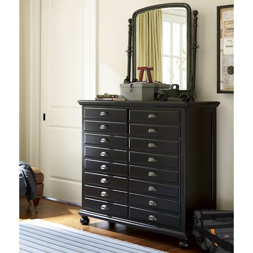 Smartstuff Black and White 8-Drawer Map Chest and Tilt Mirror Combination