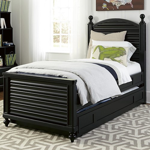 Smartstuff Black and White Twin Reading Bed with Arched Headboard and Low Footboard with Trundle Unit