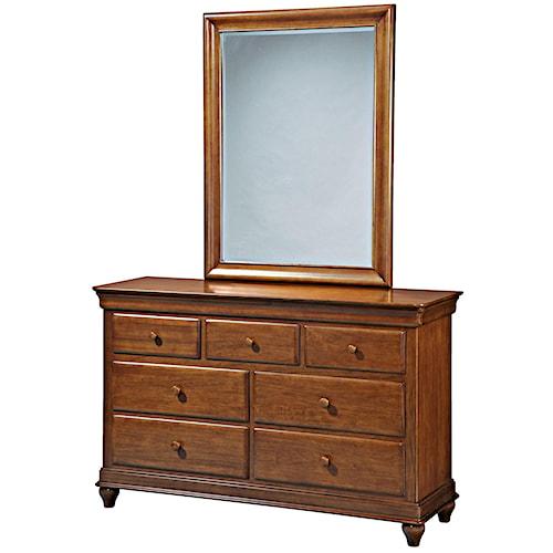 Morris Home Furnishings Sherwood 7-Drawer Dresser & Vertical Beveled Edge Mirror