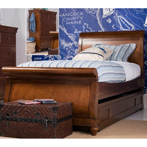 Universal Kids Smartstuff Classics 4.0 Full Sleigh Bed with Trundle Unit for Mattress or Storage