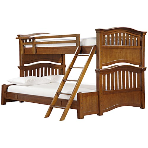 Morris Home Furnishings Sherwood Twin Over Full Bunk Bed with Guard Rail & Clock Shelf