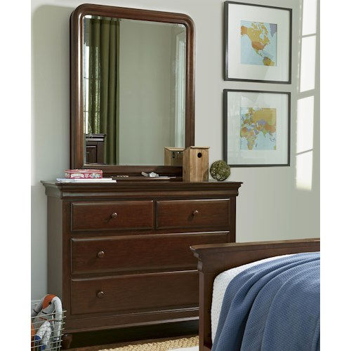 Smartstuff Classics 4.0 4-Drawer Single Dresser & Vertical Mirror with Pull-Out Accessory Storage