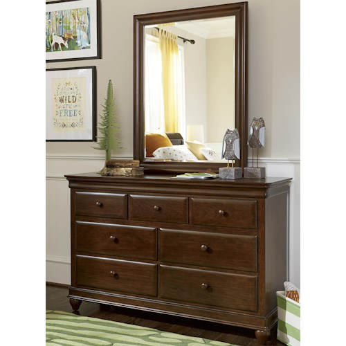 Morris Home Furnishings Classics 4.0 7-Drawer Dresser & Vertical Beveled Edge Mirror