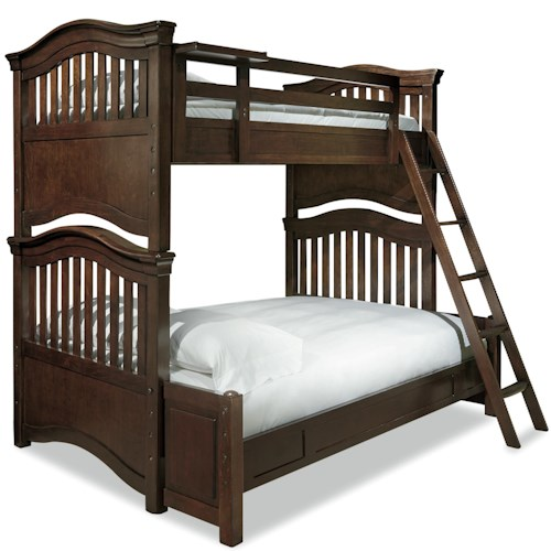Smartstuff Classics 4.0 Twin Over Full Bunk Bed with Guard Rail & Clock Shelf