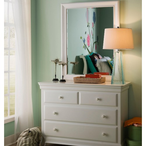 Smartstuff Classics 4.0 4-Drawer Single Dresser & Vertical Beveled Edge Mirror