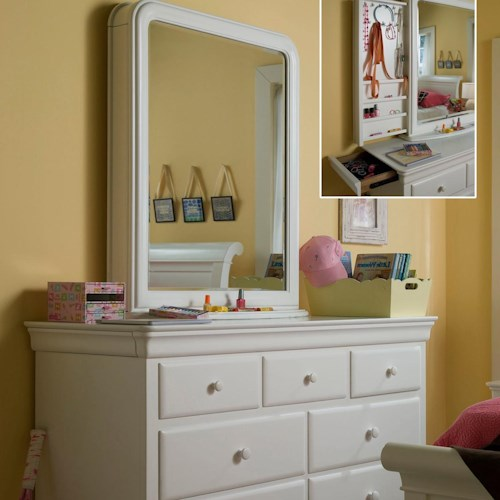 Smartstuff Classics 4.0 7-Drawer Dresser & Vertical Mirror with Pull-Out Accessory Storage