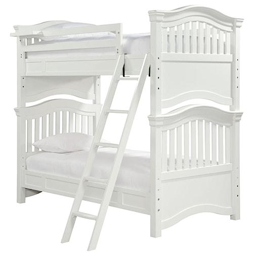 Morris Home Furnishings Sherwood Twin Over Twin Bunk Bed with Guard Rail & Clock Shelf