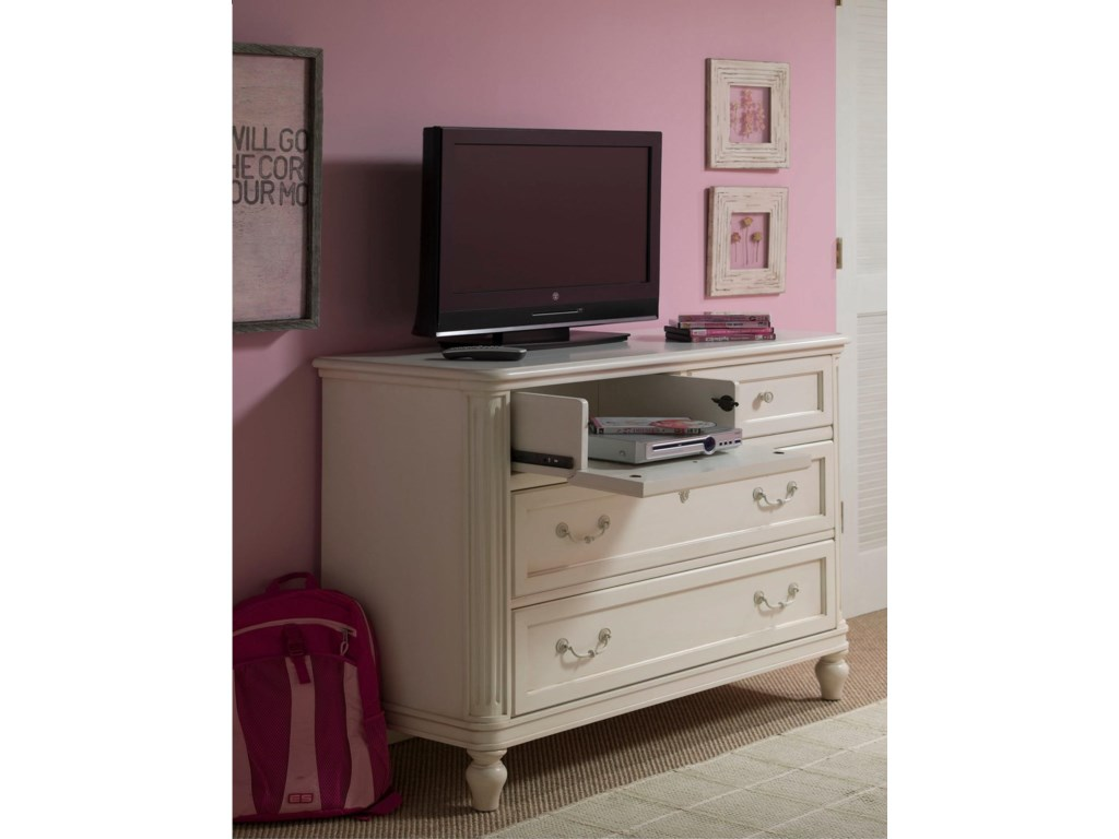 A Drop-Front Drawer Offers Media Storage