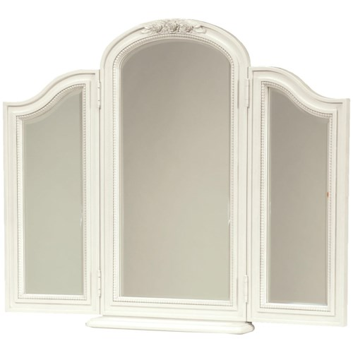 Morris Home Furnishings Greenville Tri-View Beveled Dressing Chest Mirror with Scooped Out Coin Tray