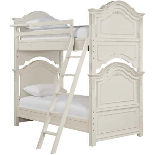 Smartstuff Gabriella Twin-Over-Twin Bunk Bed with Decorative Molding Accents & Floating Clock Shelf