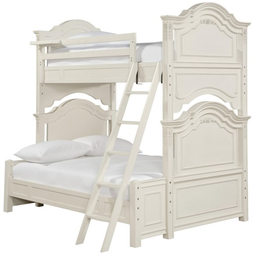 Morris Home Furnishings Greenville Twin Over Full Bunk Bed with Floating Clock Shelf & Shapely Molding Details