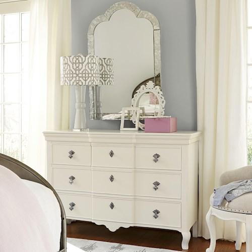 Smartstuff Genevieve Dresser and Venetian Mirror Set with 5 Drawers