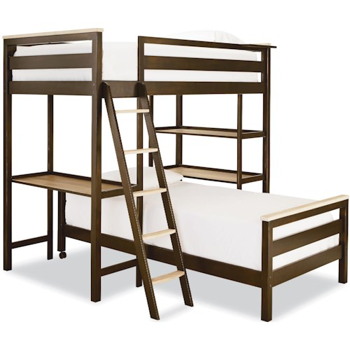 Smartstuff #myRoom Twin Metal Loft Bunk Bed with 3 Shelves