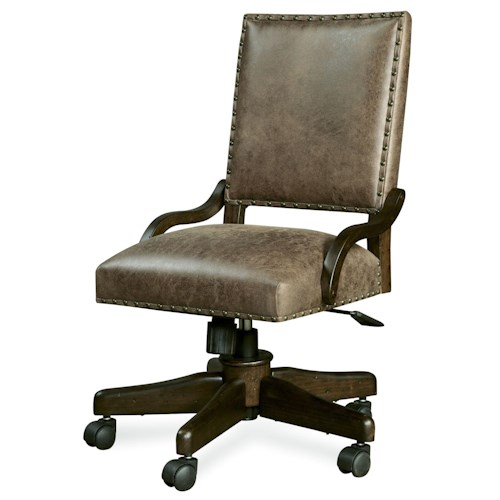 Morris Home Furnishings Pine Valley Henry's Leather Desk Chair with Caster Legs