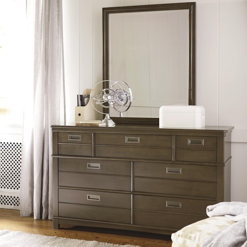 Morris Home Furnishings Varsity 6-Drawer Dresser and Mirror Set