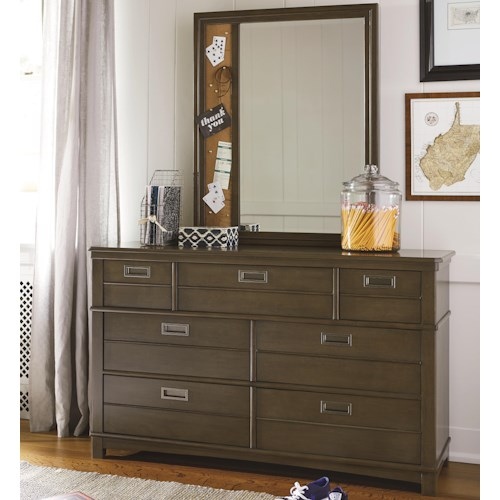 Smartstuff Varsity 6-Drawer Dresser with Memory Mirror