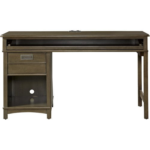 Morris Home Furnishings Varsity Single Pedestal Desk with Charging Station
