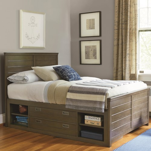 Morris Home Furnishings Varsity Full Reading Bed with Flex LED Light and Storage Unit